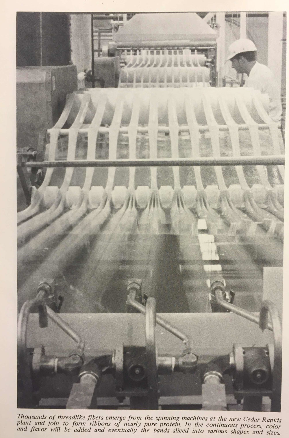 General Mills' protein-spinning plant in Cedar Rapids. Image source:  Progress Thru Research,  vol 24, no 2, 1970-1.