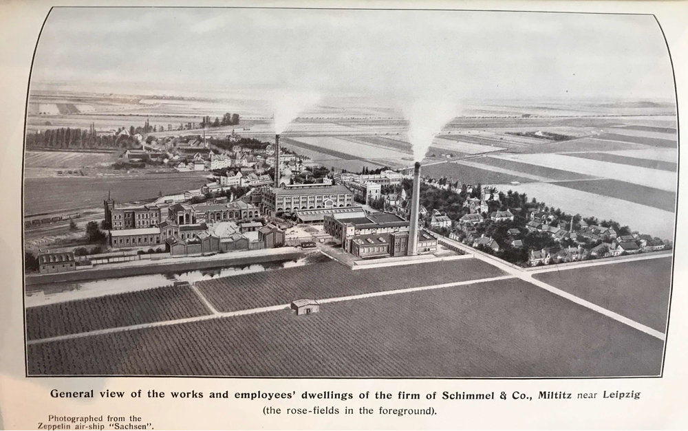 Zeppelin's-eye view of Schimmel & Co. in Miltitz, from the April 1914 Schimmel & Co. Semi-Annual Report. The twin smokestacks correspond to the two boiler-houses, which supplied steam for distillation to the complex. The model worker's village is to the right of the factory complex. the town of Miltitz lies behind the factory. Railcars on the Thuringian railway can be seen in the mid-left margin of the image, approaching or receding along a diagonal. Rose fields stretch across the foreground and border the worker's village.
