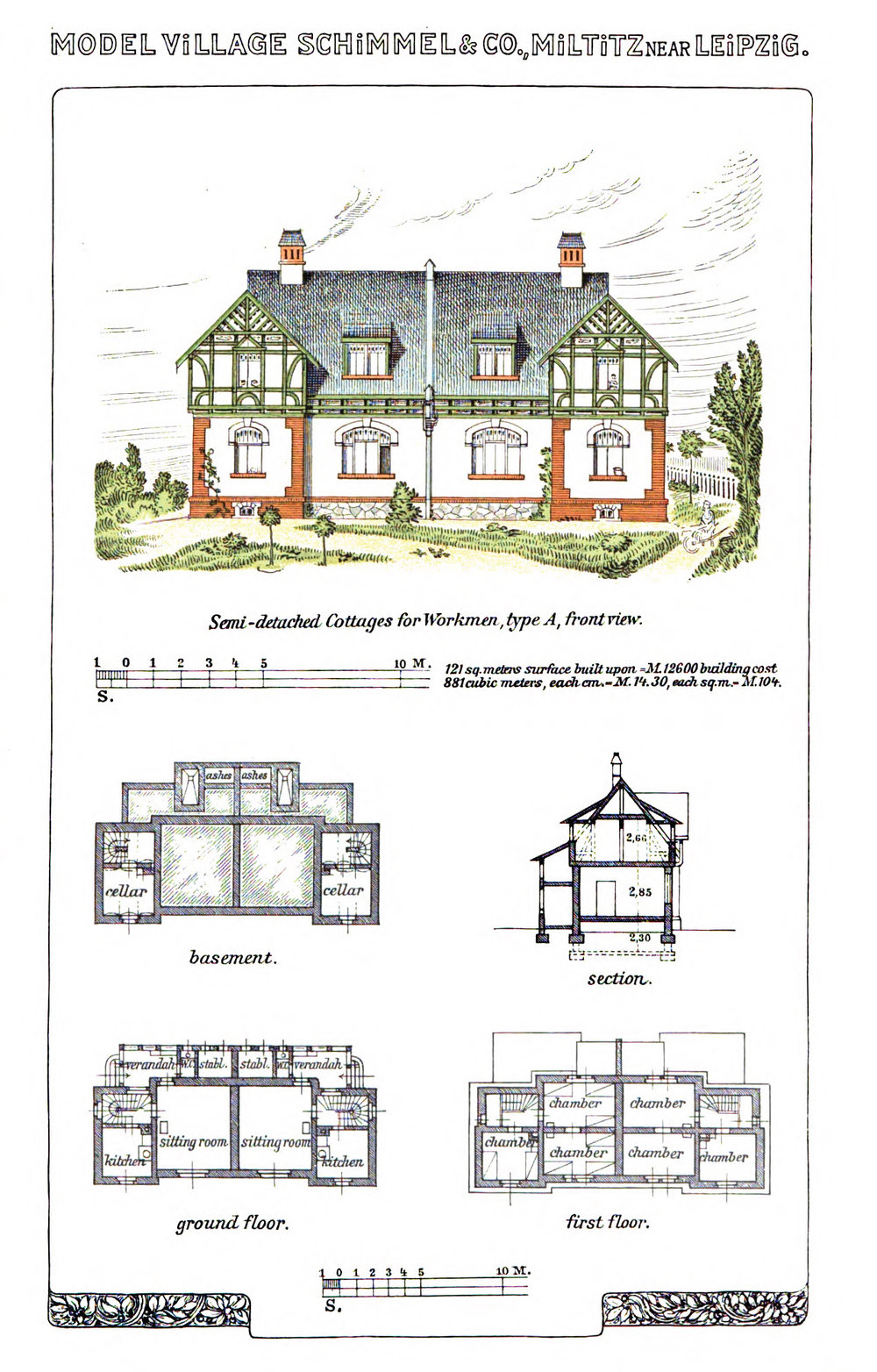 Semi-detached cottages for workmen. From  Schimmel & Co's Works,  1908.