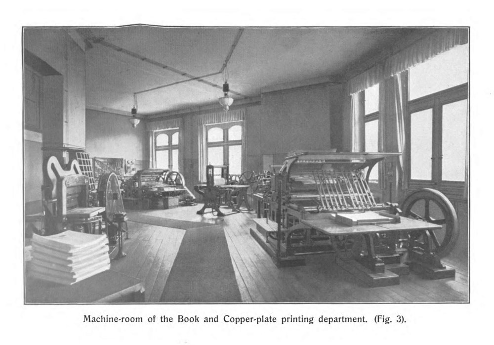 The printing presses in a moment of serenity. From Schimmel & Co.'s Works, 1908.