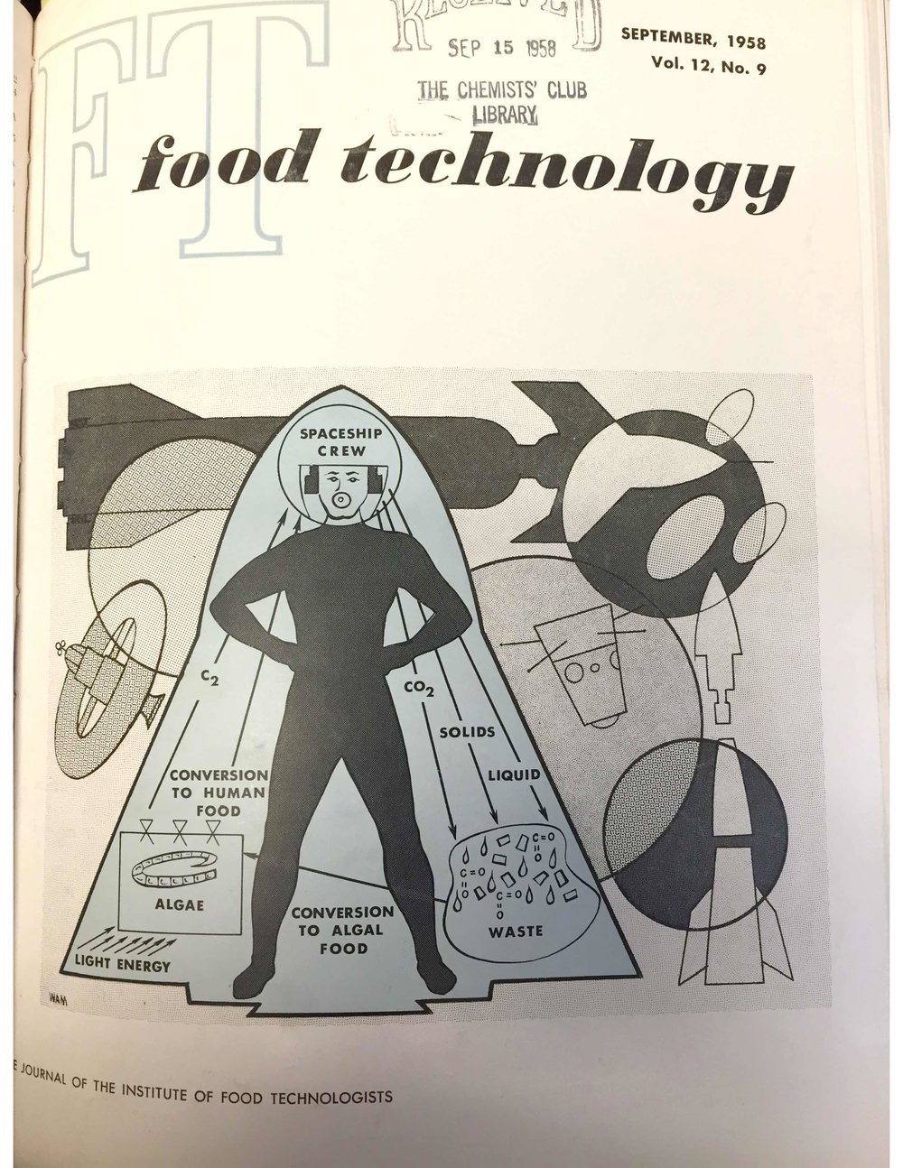 The man-algae poop-food cycle, as depicted on the cover of  Food Technology , September 1958 (also known as international geophysical year).