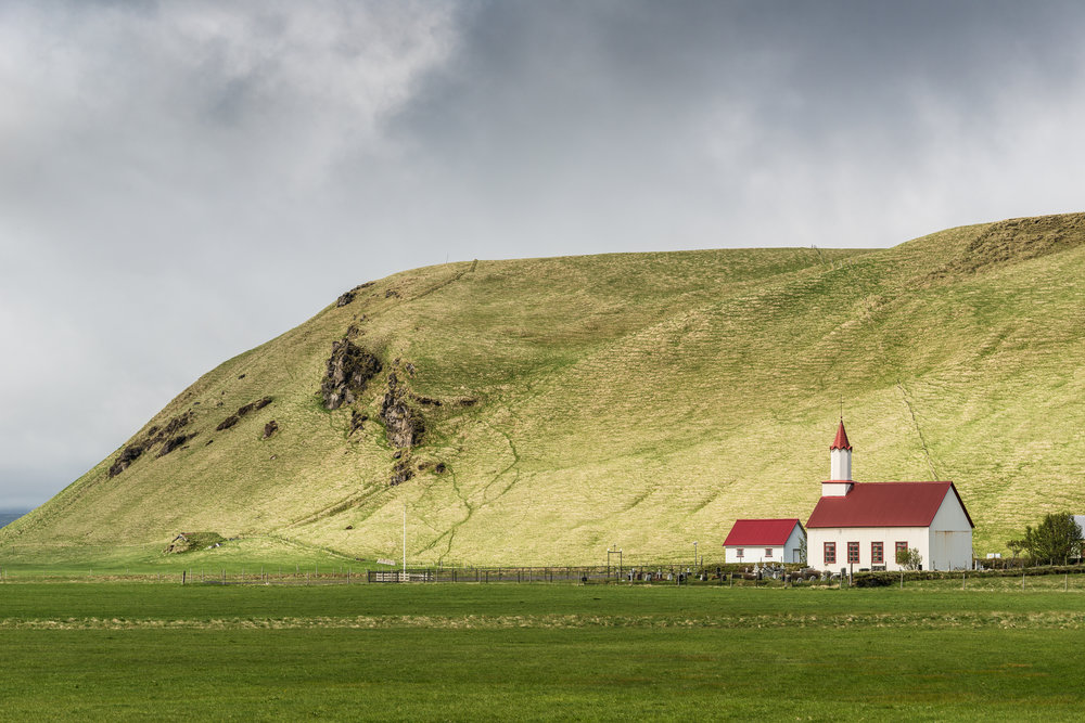 Church in a field. Iceland