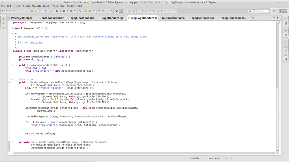 Some random sample of the exporter code written in Java