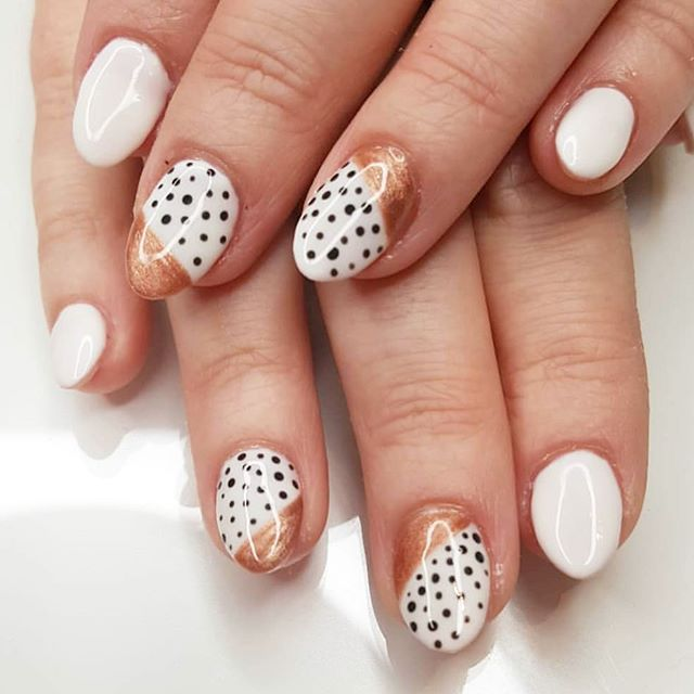 Polka dots anyone? @priscillas_nails #polkadots #geometricnails #modernnails . . . #nailstagram #nailsofinstagram #naildesign #naildesign #nailsoftheday #instanails #notd #nailsonpoint #lovemynails #nailpro #nailart #nails2inspire #megandiezsalon #manicure #pedicure #greenvillenails #greenvillepedicure #greenvillemanicure #yeahthatgreenville #nailsmagazine #megandieznails #gelnails