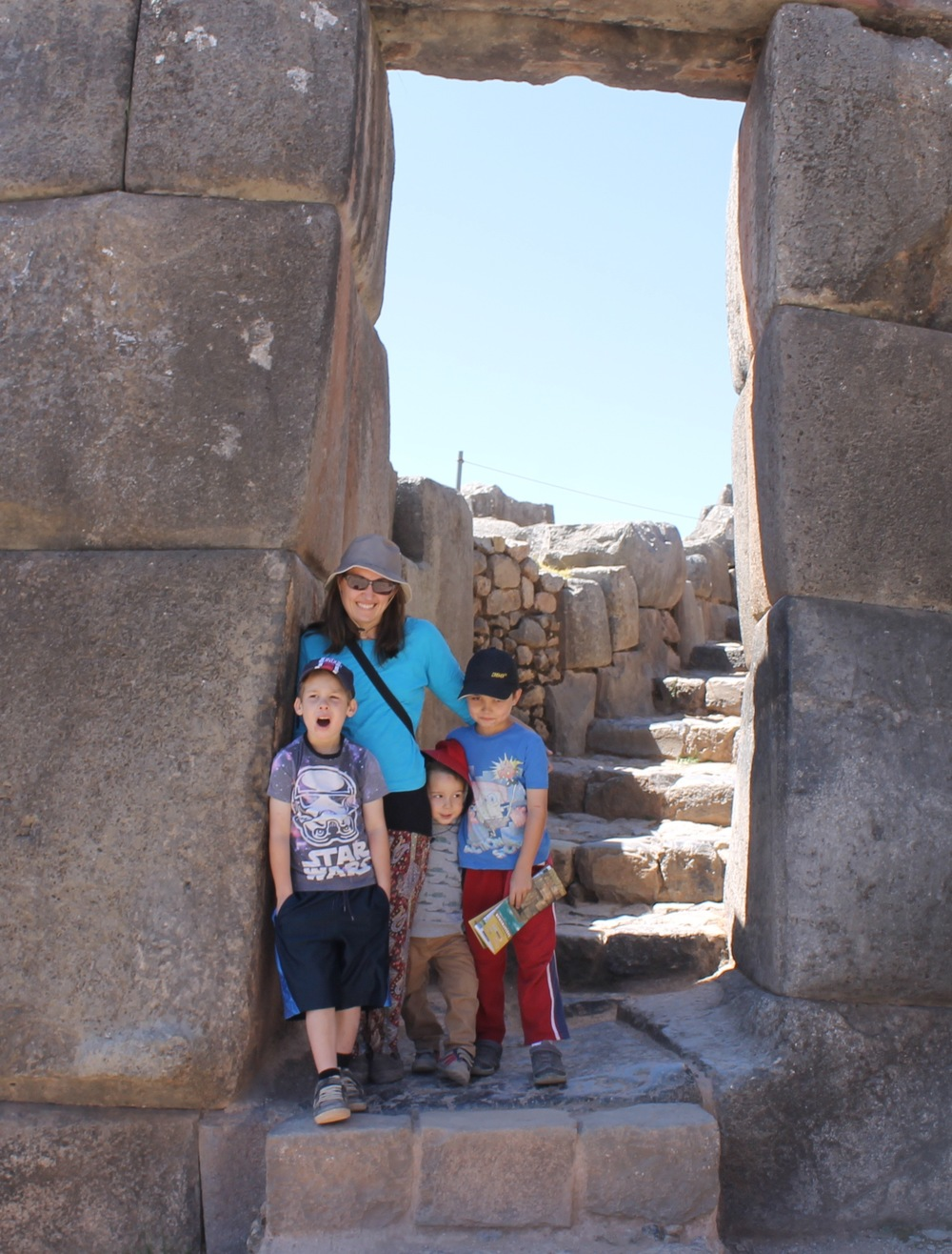 You can see how HUGE this doorway actually is now we are standing in it.  And yes, my boys don't always appear smiley in photos!