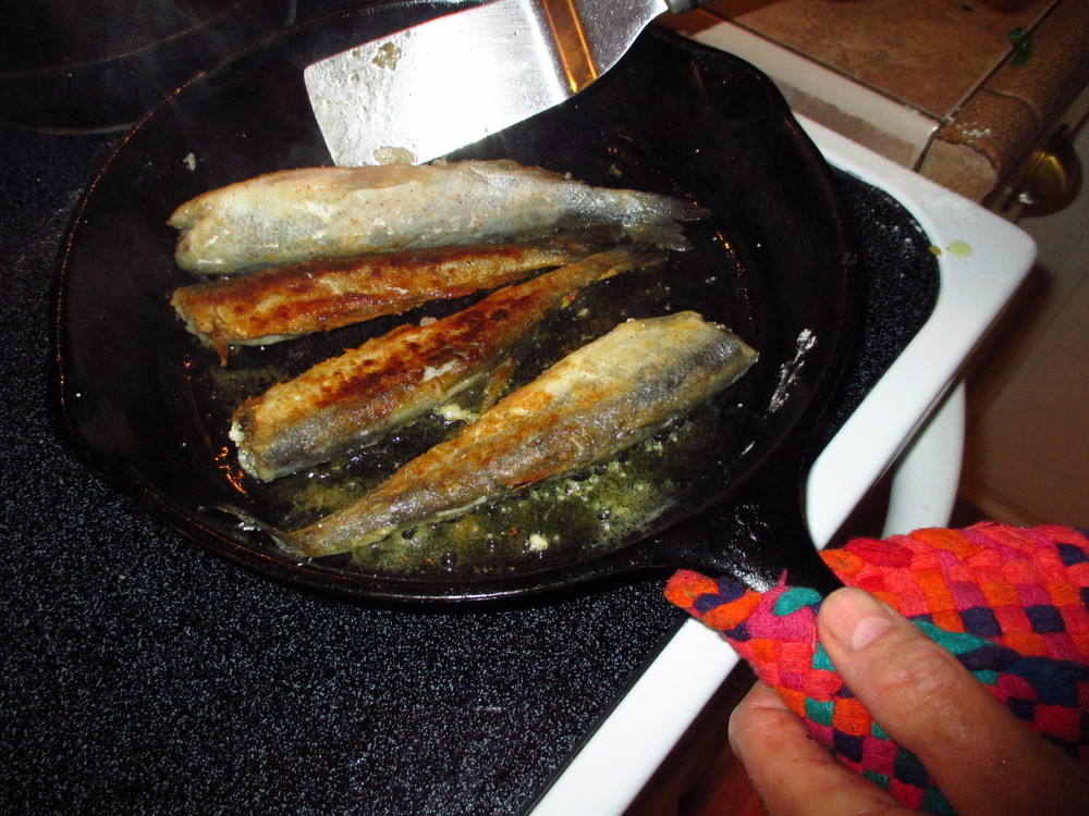 The frying in olive oil of half the smelt without heads as another than myself wasn't sure he wanted to eat the whole fish the way a murrelet would. Note: these smelt are probably twice the size of any a murrelet could handle.