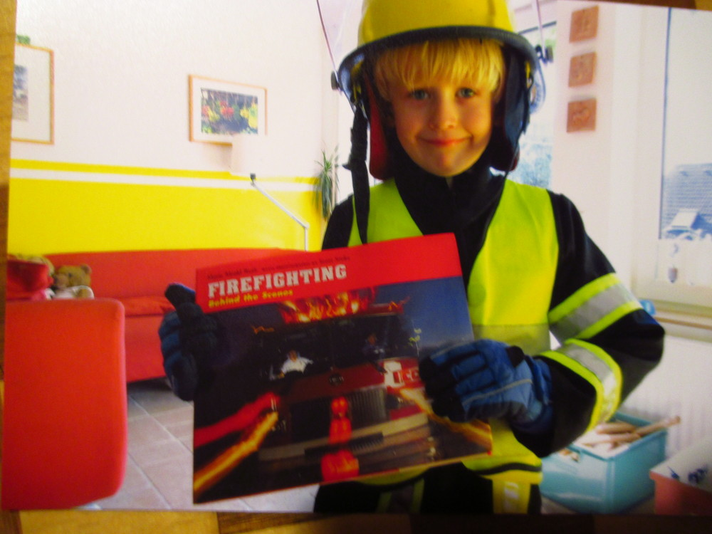 A young reader from Germany was given a copy of my 1996 book on Firefighting recently --and he slept with the book next to him that night. Now that's a fan!