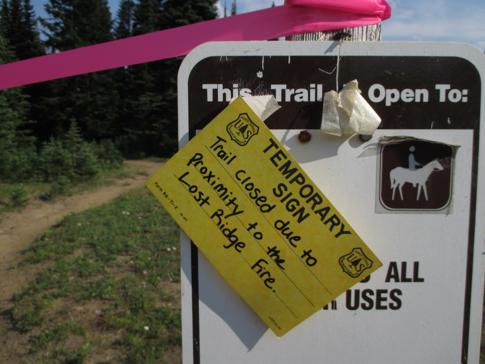 This is the sign posted at the trailhead to Greenwater and Echo Lake...and greeted us on our return hike from the lake!  The trail was closed, then the campground (Corral Pass) where we were camping was evacuated, then five-mile road to Corral Pass was closed on Monday afternoon.      (Photo by MM Ruth)
