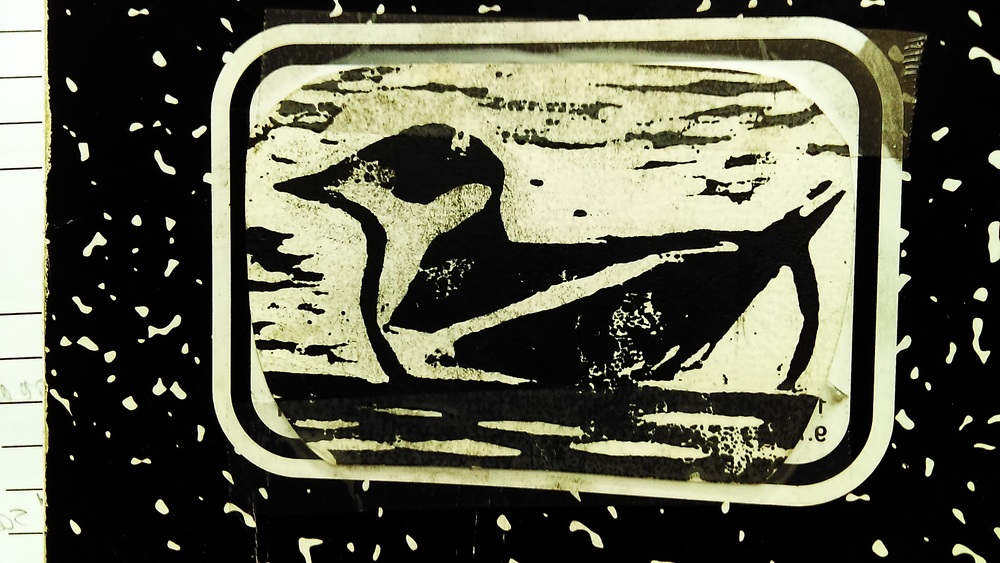 Marbled Murrelet in Winter. LInocut by Manke Mistry. Printing and taping of image to marbled composition book by M. Ruth.