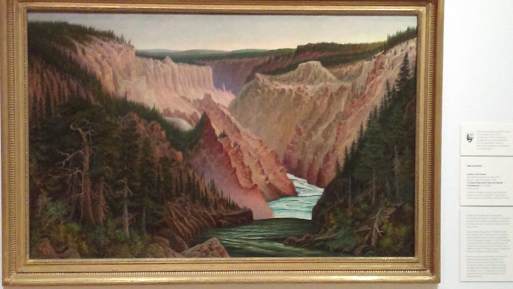"""A Canyon River with Pines and Figures,"" by Grafton Tyler Brown (1841-1918). Tacoma Art Museum."