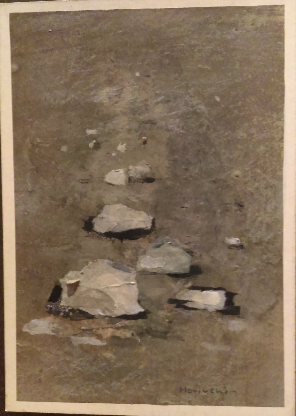 """And Paul Horuchi (1906-1999) calls his collage """"Rocks,"""" but they could almost be small cumulus clouds floating in the smoggy or sepia-tinted air."""