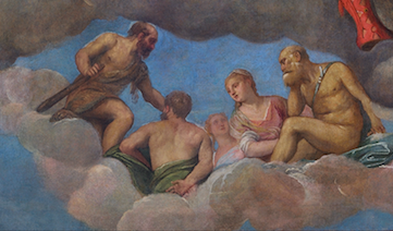 "Here is  a detail of the ""Coronation of Hebe"" painted long before we  knew clouds could not support the weight of one (not to mention five) bodies for a cozy celebration."