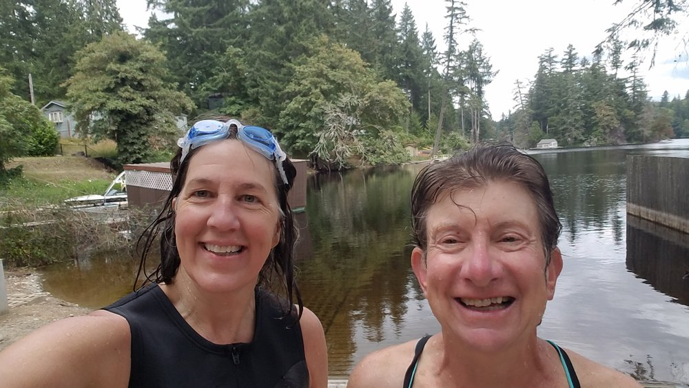 "Sure, we're smiling now but we were not so happy getting ourselves into the lake on this brisk day in ""June-u-ary."""