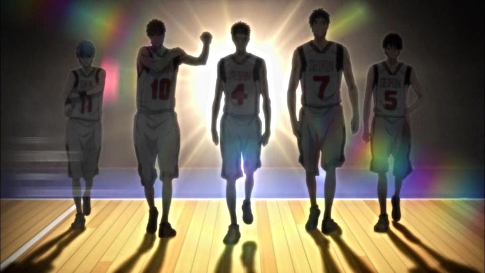 Seirin's starting line-up a.k.a. bad boys of basketball: Tetsuya Kuroko, Taiga Kagami, Junpei Hyuga, Teppei Kyoshi, and Shun Izuki (left to right).