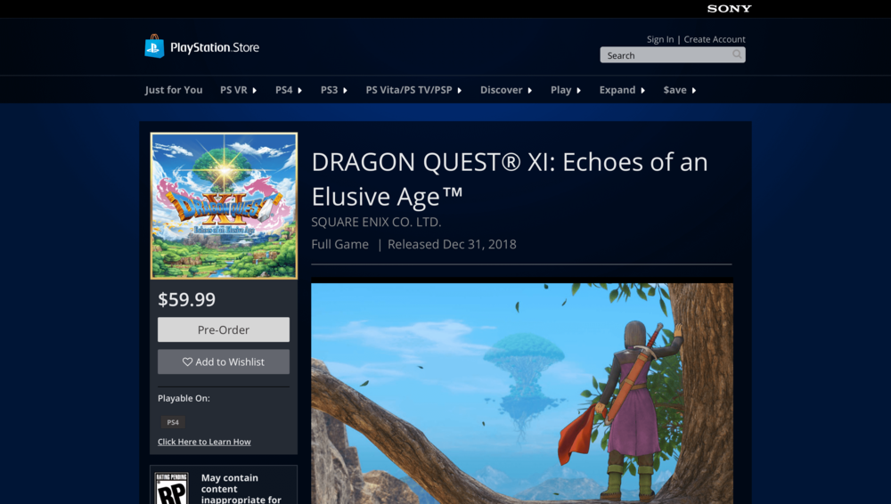 Dragon Quest XI at the PlayStation Store