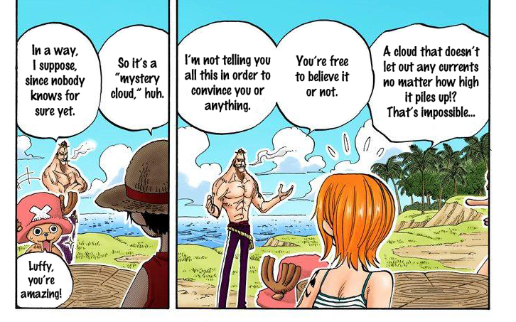 The Straw Hats learning about Sky Island ( One Piece , chapter 229)