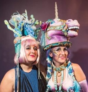 Our Market Manager Jac (left), sporting a fabulous headpiece made by Caroline Thomas (right. Check out her work on IG  @c_to_the_line