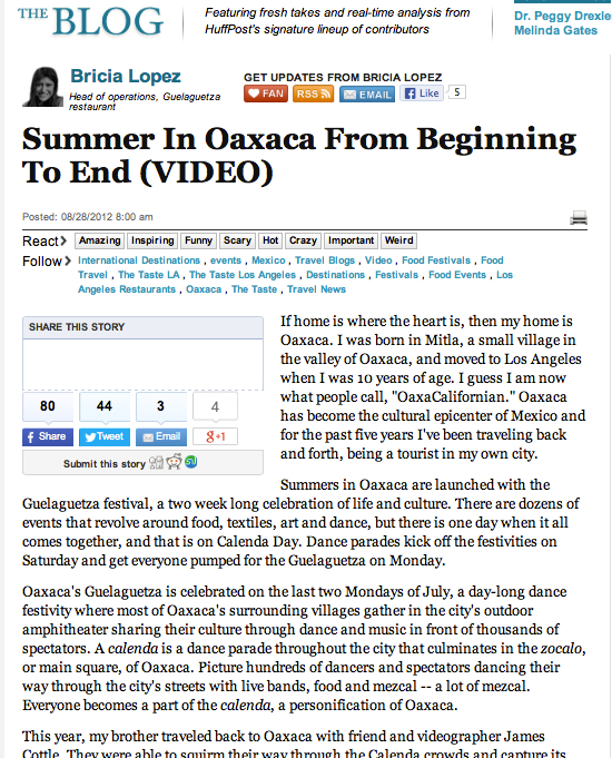 A Summer in Oaxaca by Bricia Lopez for The Huffington Post