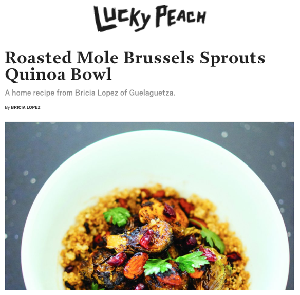 Roasted Mole Brussel Sprouts with Lucky Peach