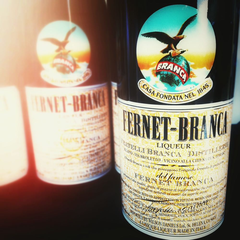 Fernet Branca, a bitter, aromatic spirit from Italy; made with number of herbs and spices.