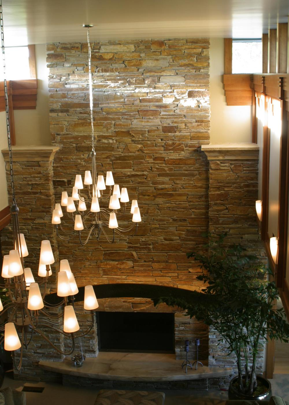 View of fireplace from Recreation Room.