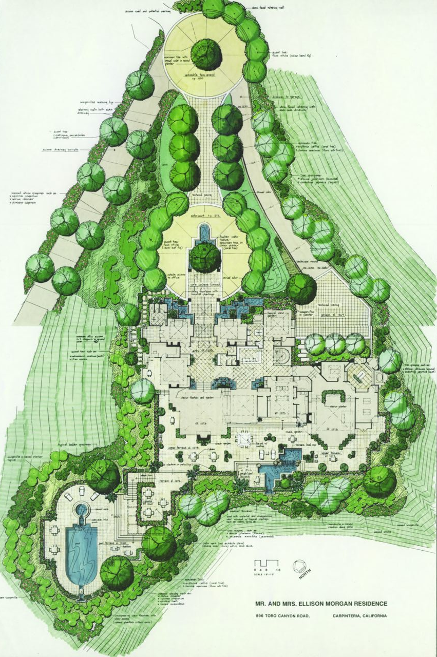 A proposal for a 13,000 SF estate in the hills adjacent to Montecito, Californa, overlooking the Pacific Ocean.