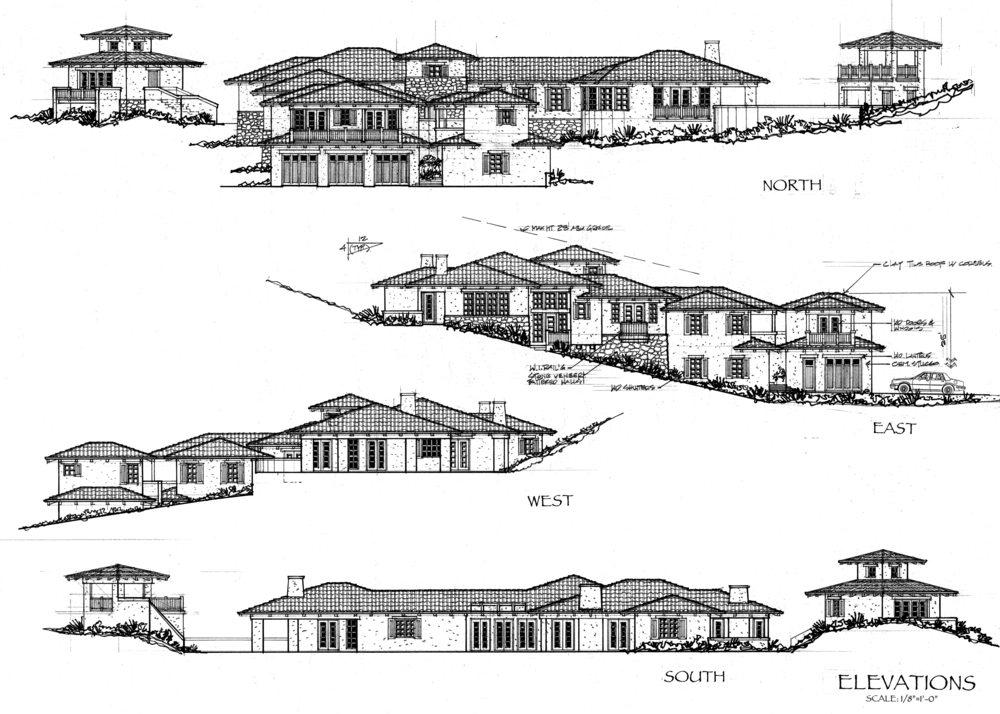 A proposal for an early California-Monterey style estate home with detached artists studio, garage with apartment above, and pool cabana.