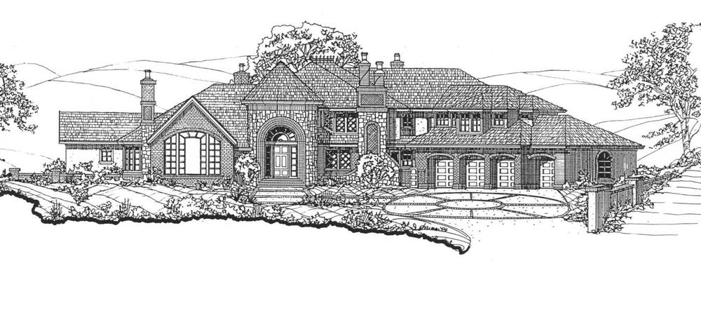 A proposal for a 7,300 SF traditional style home on a hillside lot in Danville, California.