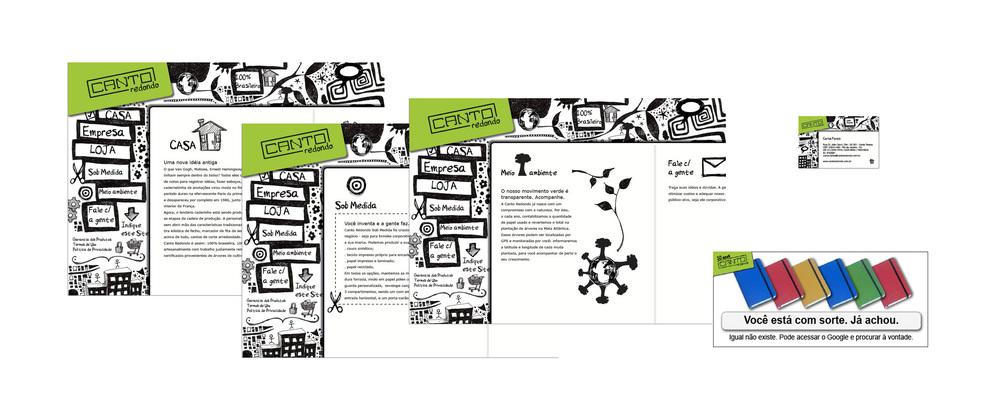 Site Canto Redondo - Uma empresa que produz cadernetas para grandes clientes em todo o Brasil e quis um trabalho com um tratamento fora do tradicional.