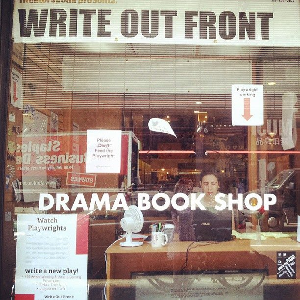 "ME AT ""WRITE OUT FRONT"" 2014!  I am writing a slutty new play in the window of Drama Book Shop"