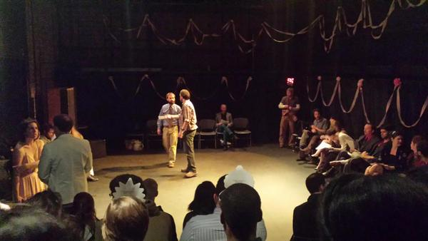 "This is a photo of ""PROM MADNESS"" that I produced in  Fall 2014.  Madness is a weekly short play fest that OhioU MFA Playwrights.  We decorated the space to make it look like prom.  This is a photo right before the show started, you can see audience members wearing crowns I laid on the seats ;)"