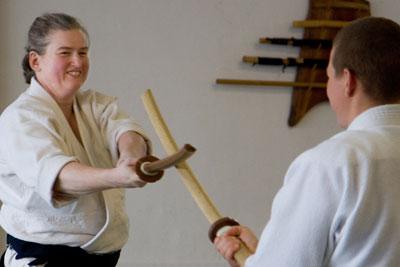 Suzane Van Amburgh Sensei, practicing with wooden bokken