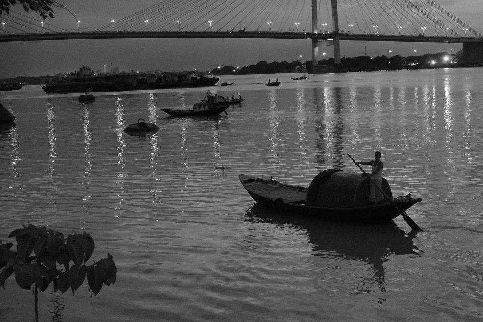 sunset over the river hooghly, calcutta, summer 2014