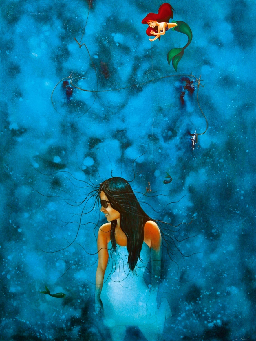 "BAJO DE AZUL MAR , mixed media, oil on canvas,  49"" x 37 1/4""  $1900"