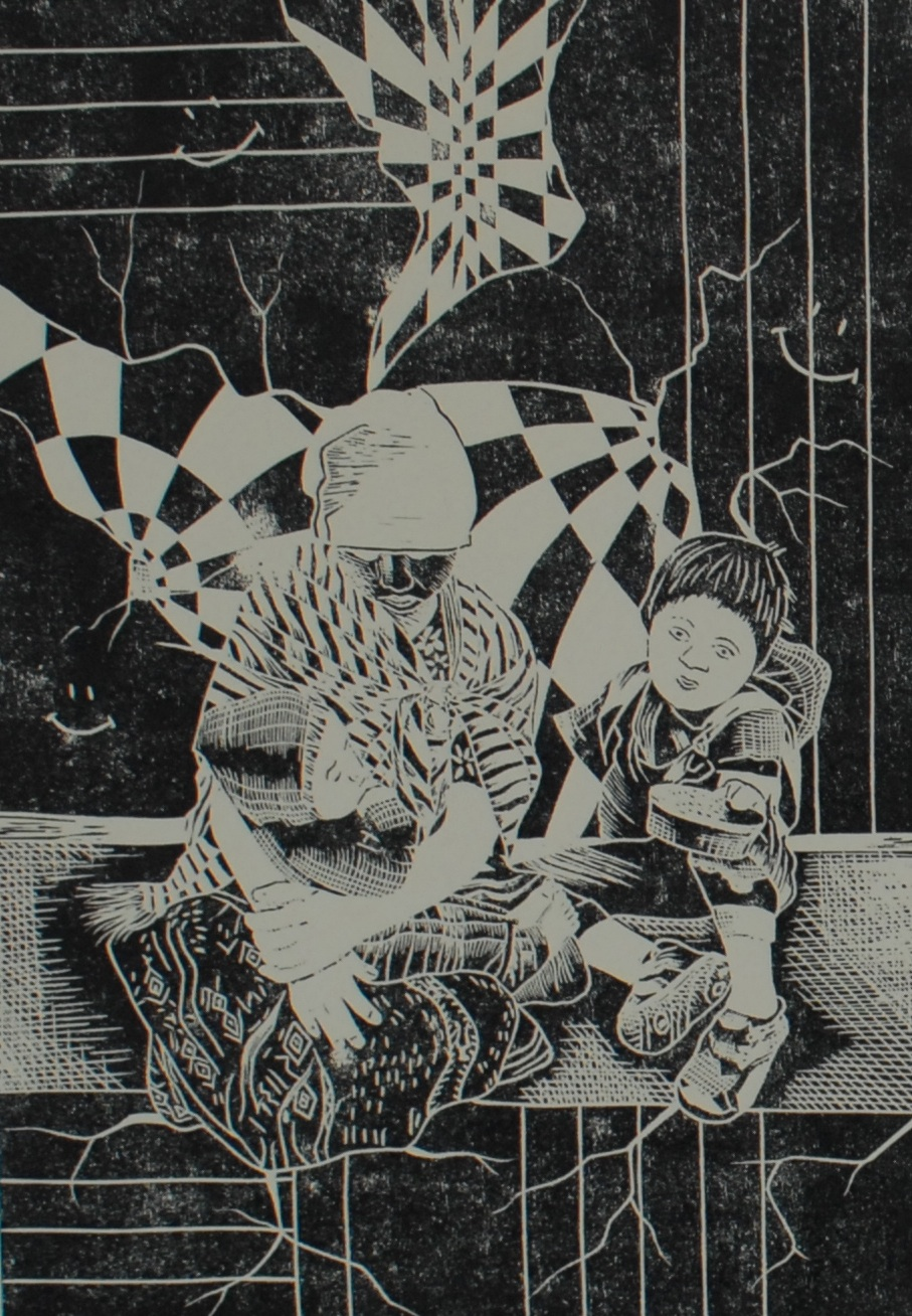 "SOÑAR ALREVEZ 1, handmade lino print, 20 1/4"" x 16""  $400"