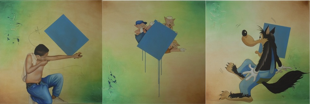 "untitled, oil and mixed media on canvas, 31.5"" x 31.5"" each, triptych, $2200"