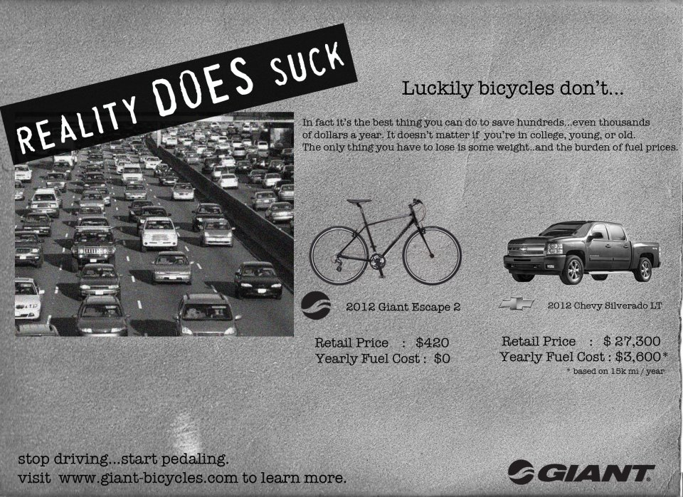Giant Bicycles gives General Motors  a dose of its own medicine in response to the recent hoopla over GM's anti-bike/transit/walking ads. (While we're not a fan of strong language like this ad uses, it's worth noting that it simply copies GM's unfortunate use of profanity.) Giant Bicycles' Facebook page has a larger image of the parody ad. (Via reddit.com/r/bicycling/.)