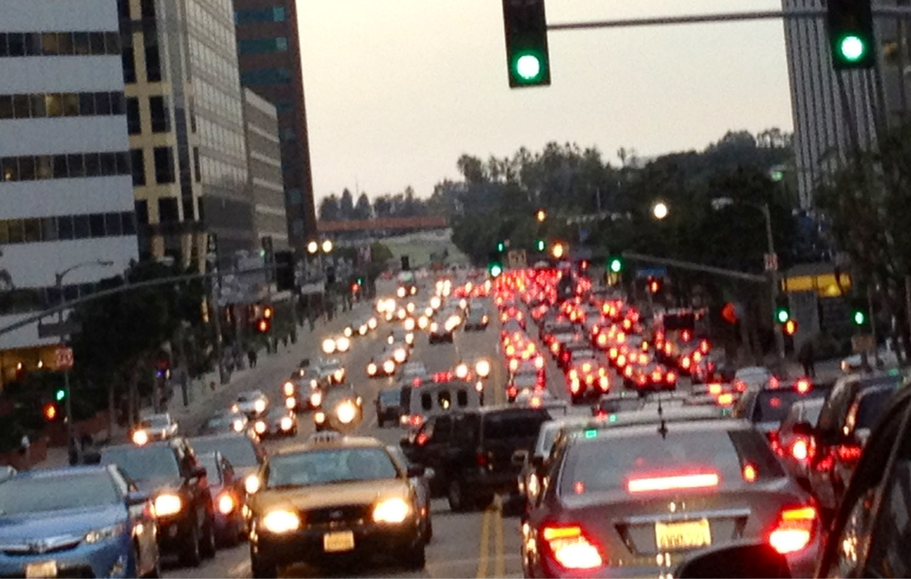 Nightly, crippling gridlock on Wilshire, caused in large part by backups cascading back from the 405.