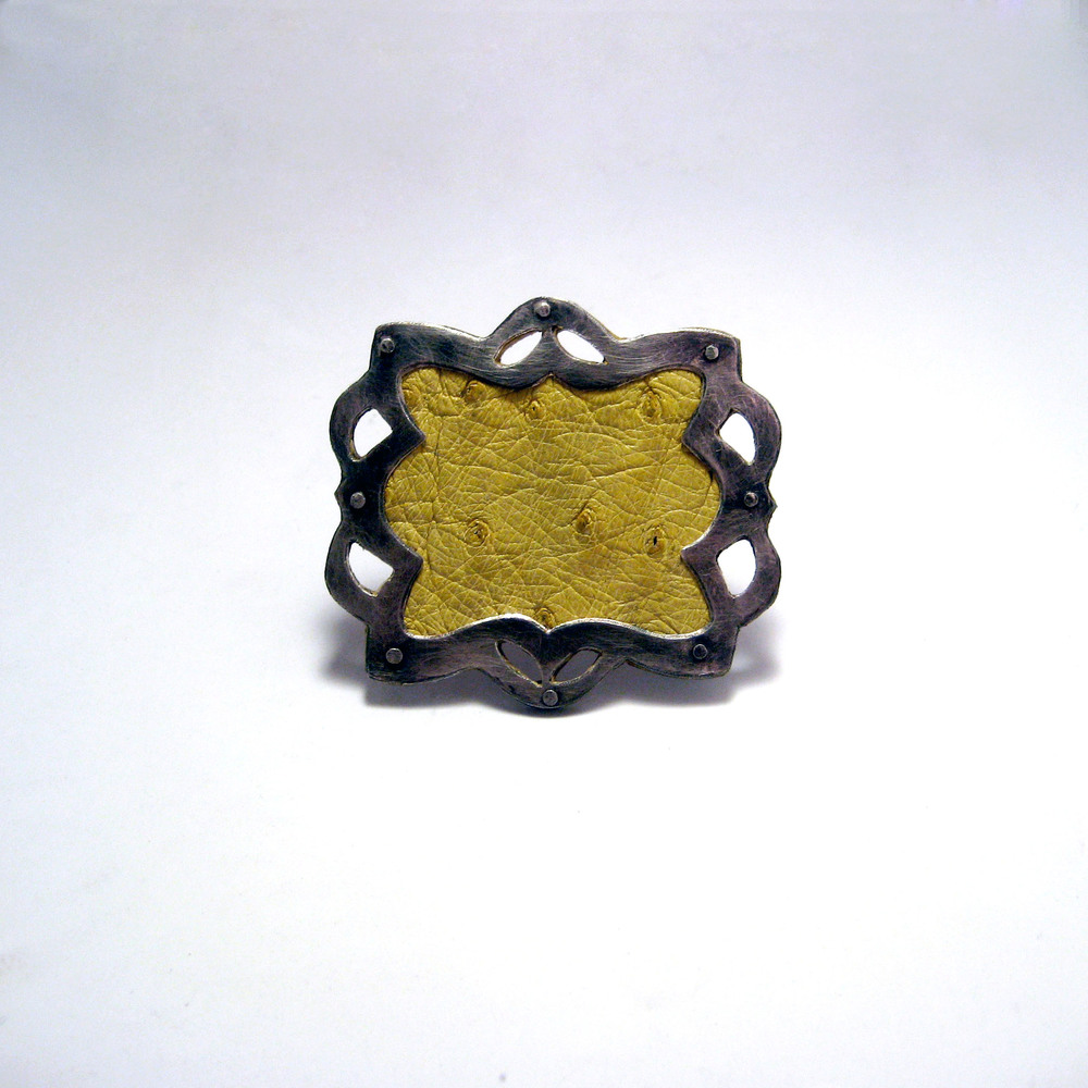 Yellow Ostrich Ring