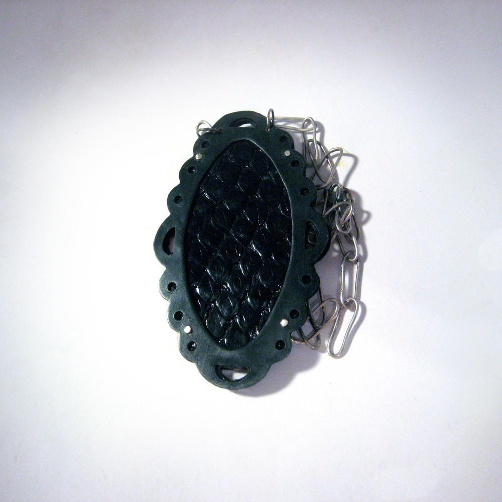 Black Snake Oval Necklace