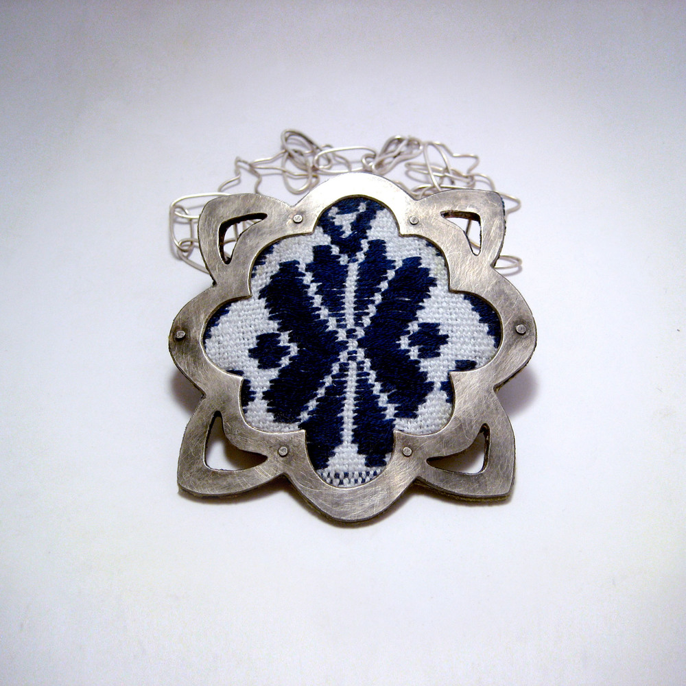 Blue Embroidery Necklace - Large