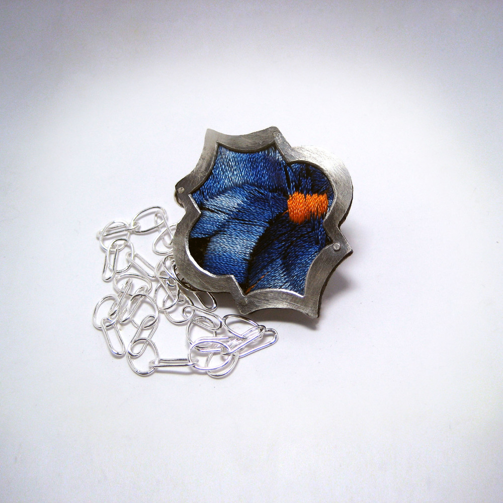 Blue Embroidery Necklace - Small