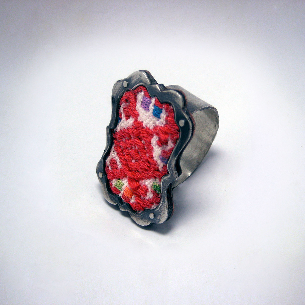 Red Embroidery Tile Ring