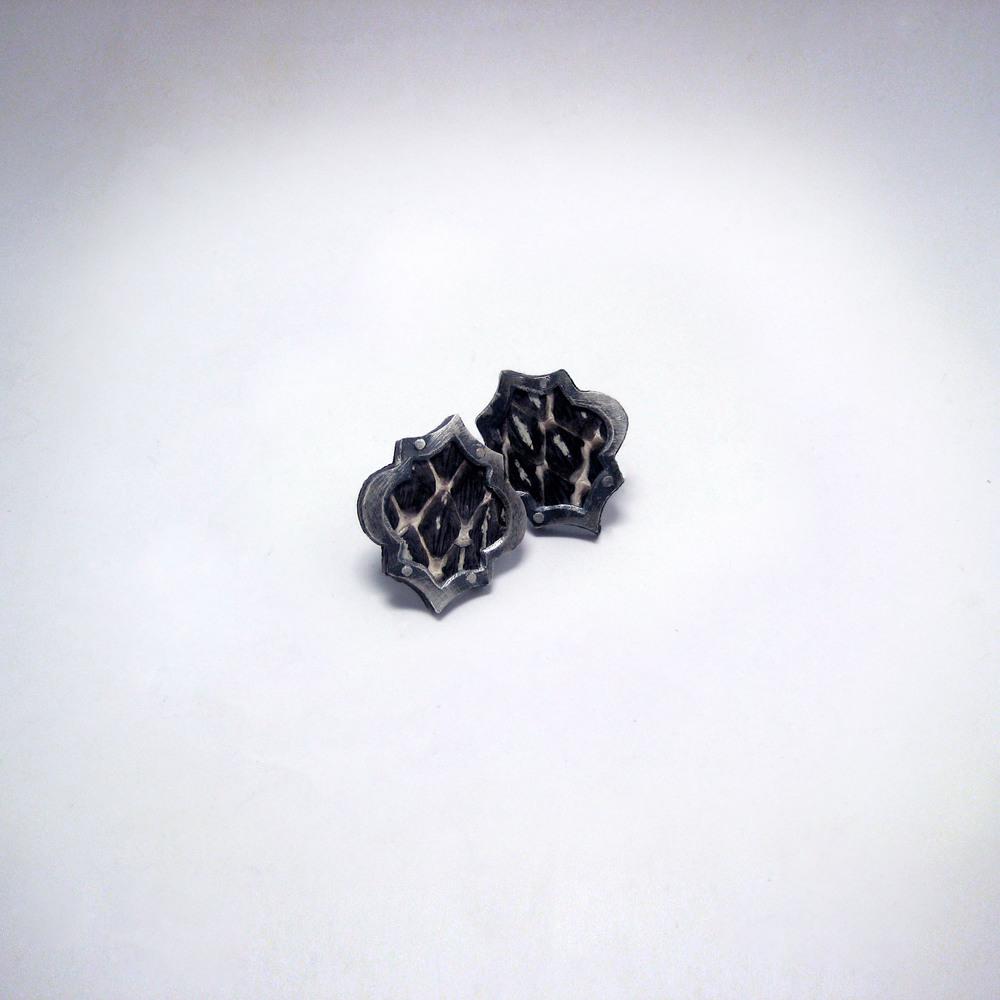 Black and White Snake Earrings