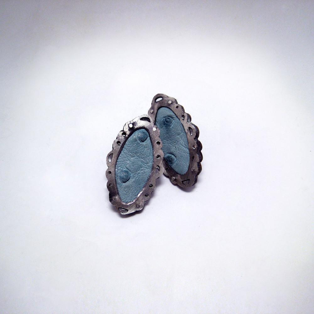 Blue Ostrich Earrings