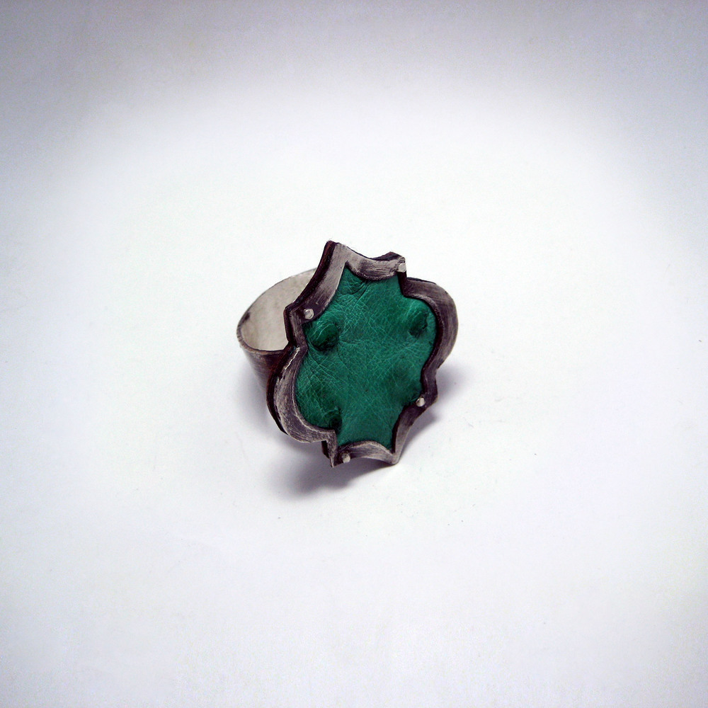 Green Ostrich Ring