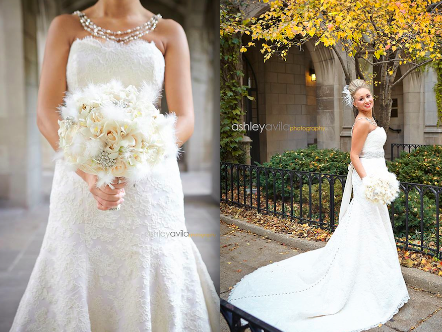 There is nothing more elegant then being a timeless beauty.. One of my favorite gowns in the collection, which is a trumpet cut wedding gown made with ivory Alencon lace, is today's featured blog. This Chicago bride had her complete look from wedding gown, bridal sash, hair accessory & jewelry handmade by me from the Victoria Sdoukos Couture Collection! Together with Whitney, we picked out all her favorite elements such as Swarovski crystal buttons & unique hair accessory to complete her one of a kind look. The process of working with me, allows my client to customize many details to make a statement that is personal to them. I attended the wedding & and can honestly say she was like a Hollywood Star!!! I loved all the details my client had & not to mention her amazing bouquet!!!  Congratulations Whitney & thank you for sharing your Wedding Day with me!