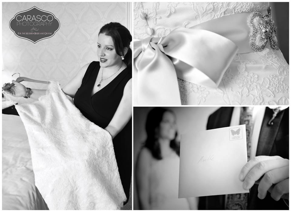 9. Saved this one for last bc it's the most unexpected! So my beautiful bride not only had me create her perfect dress, but she wanted me to be there the day of. Such a unique way to celebrate your Wedding Day! I spend so much time helping my brides find the perfect look, sew it together, that naturally having me dress you the day of is the icing on the cake! I love this photo, way to go Cara & Scott!! They posed me for this one :) Noelle's dress is featured in ivory hand stitched alencon lace & one of my favorite glam sashes from the VSC collection. Photography:http://www.carascophoto.com Hope you enjoyed my top 9 Black & White Bridal photos.. <3 Victoria