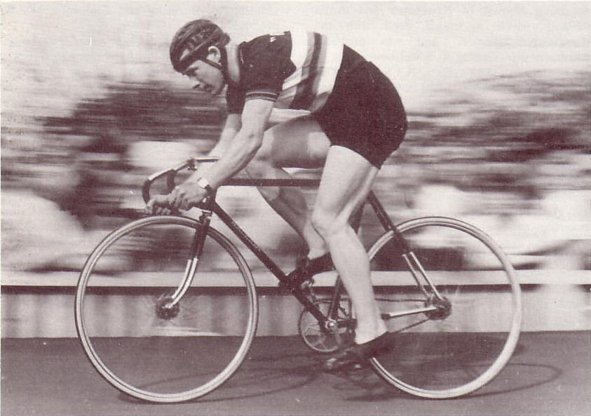 Reg Harris wearing his Sprint Championship jersey, Herne Hill, 1947.