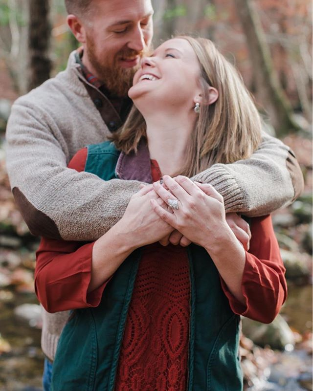 I had a perfect fall engagement session with these two at Crabtree Falls, complete with a campfire and some red wine. My kind of evening!